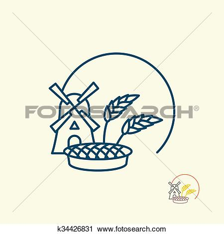 Clipart of Windmill and grain. Ears of rye and pie. Logo for fresh.