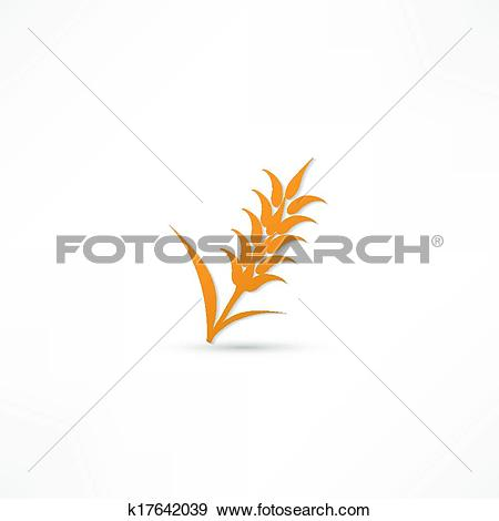 Clip Art of Ears of Wheat, Barley or Rye vector visual graphic.