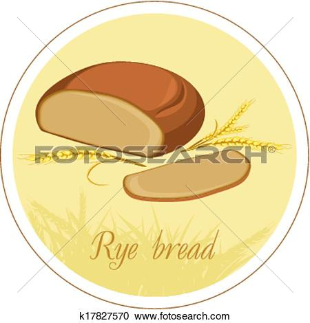 Clipart of Rye bread and wheat ears. Label k17827570.