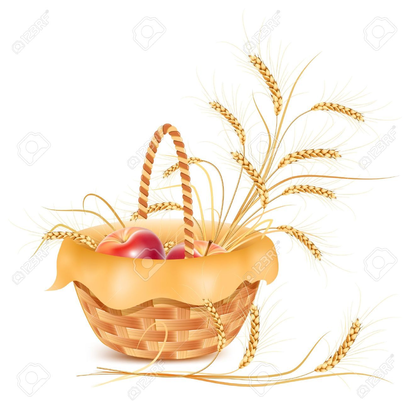Vector. Ears Of Wheat And Apple In The Basket. Royalty Free.