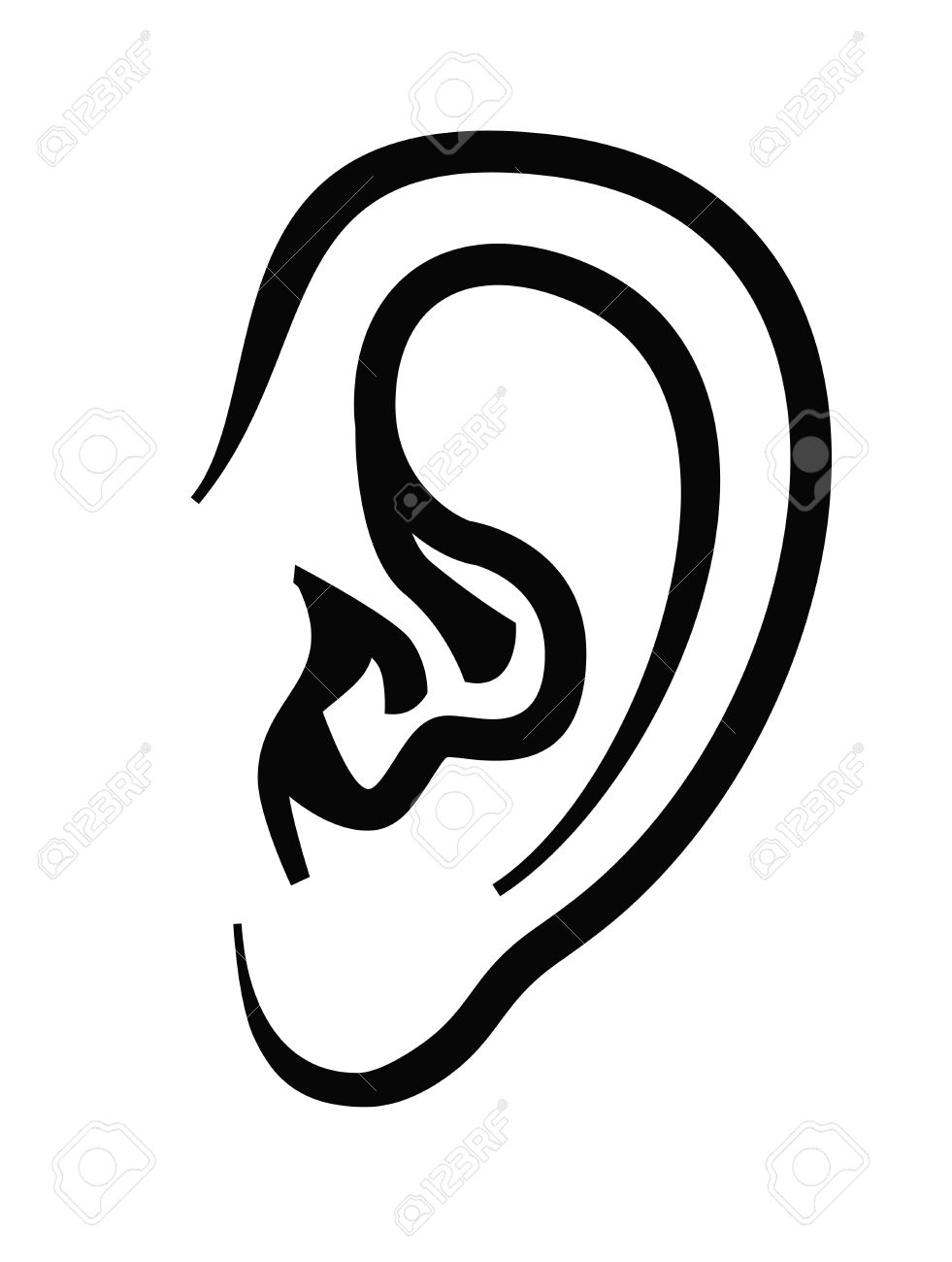 vector black ear icon on white background.
