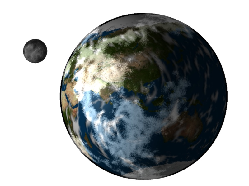 """Earth and Moon """"1"""" Trendy Bible Educational Clip Art."""
