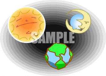 Clip Art Earth and Moon From Space.
