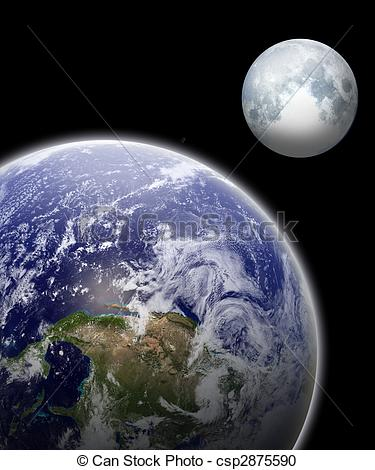 Moon and earth clipart.