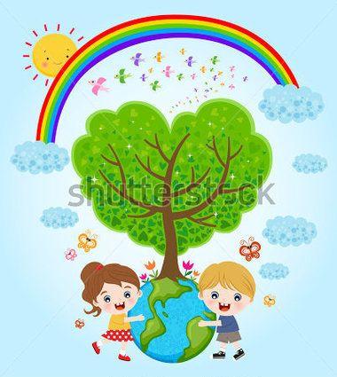 Kids Hugging Earth Plant Tree Eco Design stock vector.