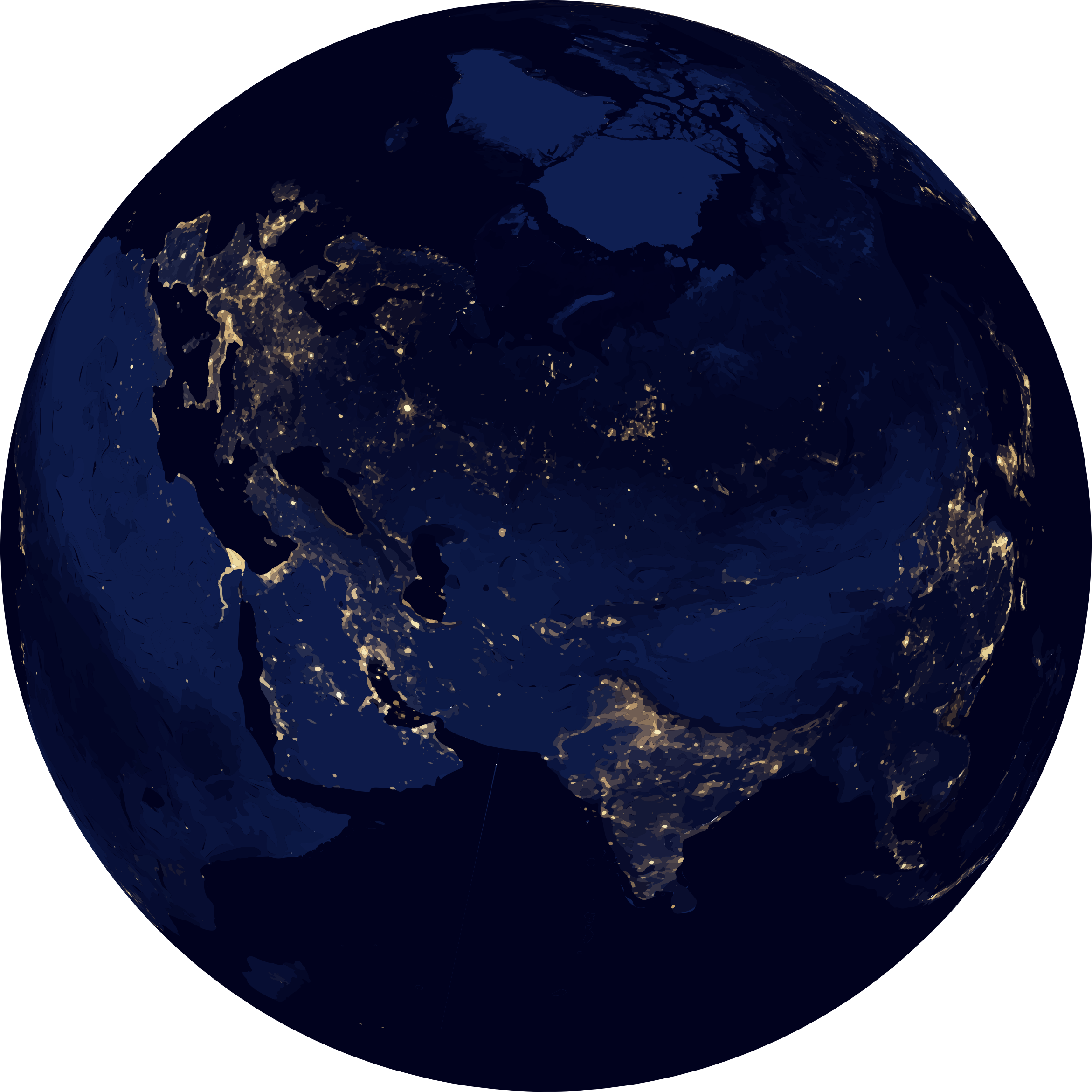 Earth at night clipart.