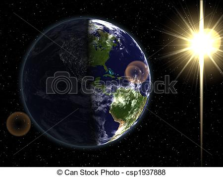 Stock Illustration of Day & night sides of Earth.