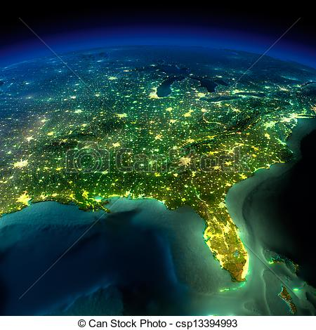 Stock Illustration of Night Earth. A piece of North America.