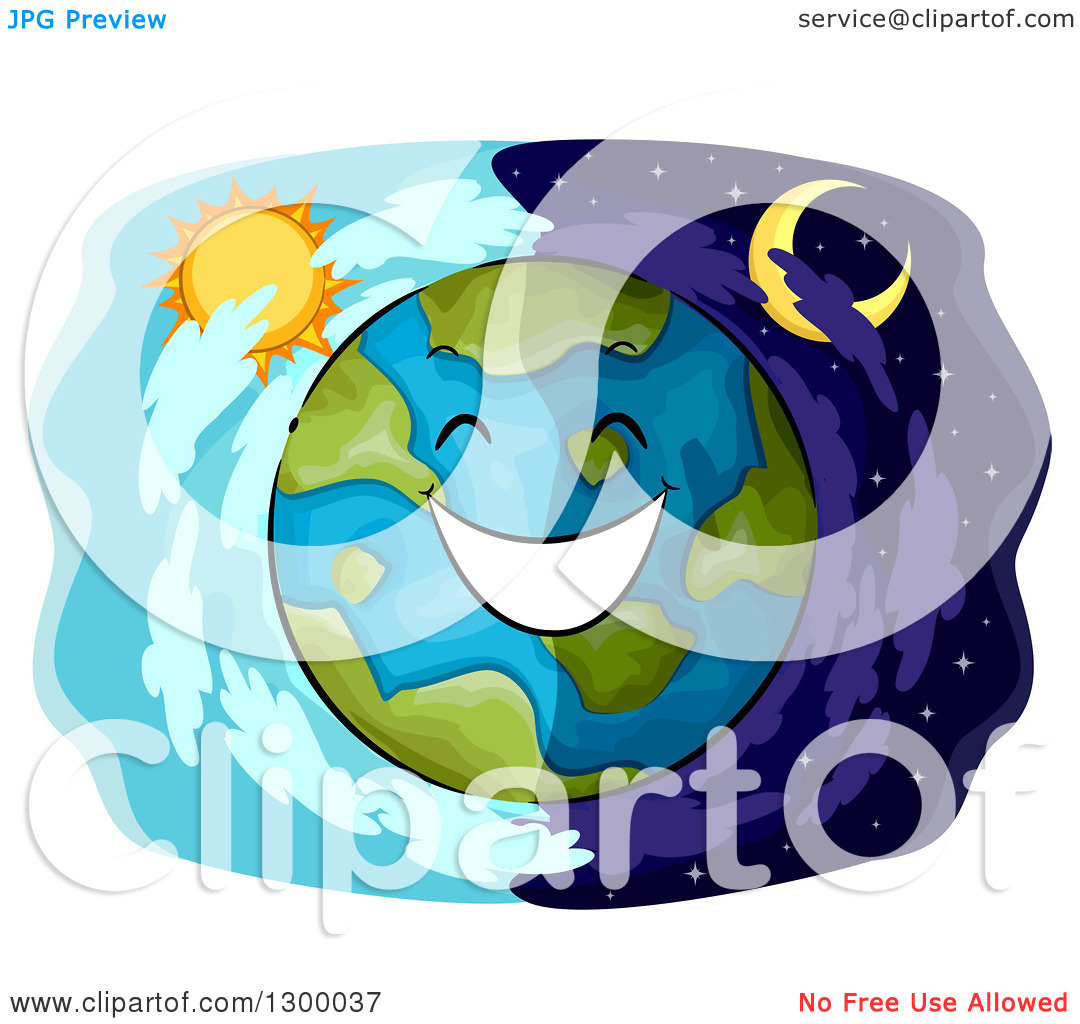 Clipart of a Happy Planet Earth over Day and Night Panels.