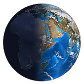 Clip Art of Photorealistic Earth. Day and night k18647412.