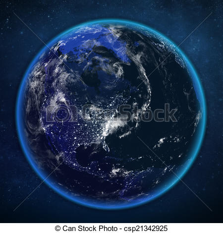 Clip Art of planet earth night view from space. The view of the.