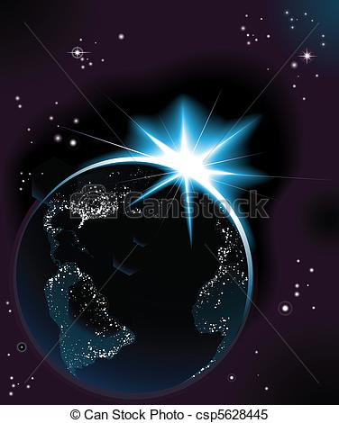 Clipart Vector of Sun rising over night time planet earth.