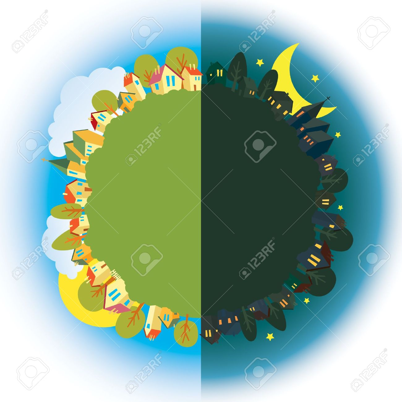 Earth with day and night clipart.