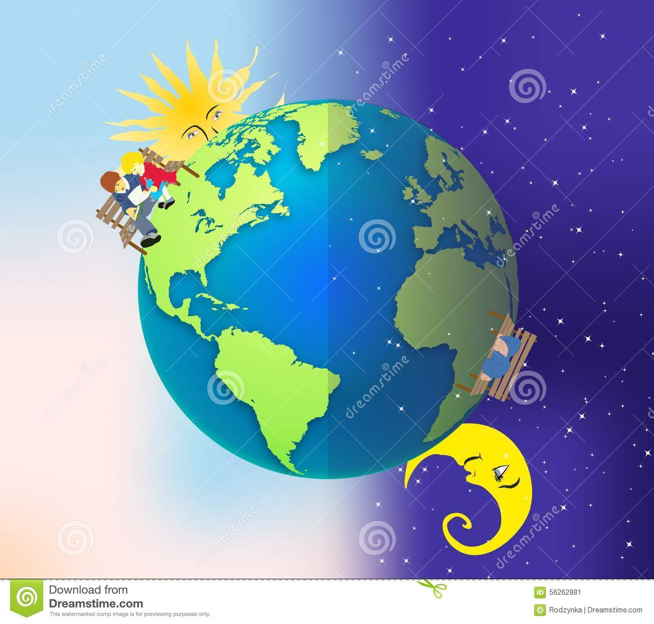 Day and night earth clipart.