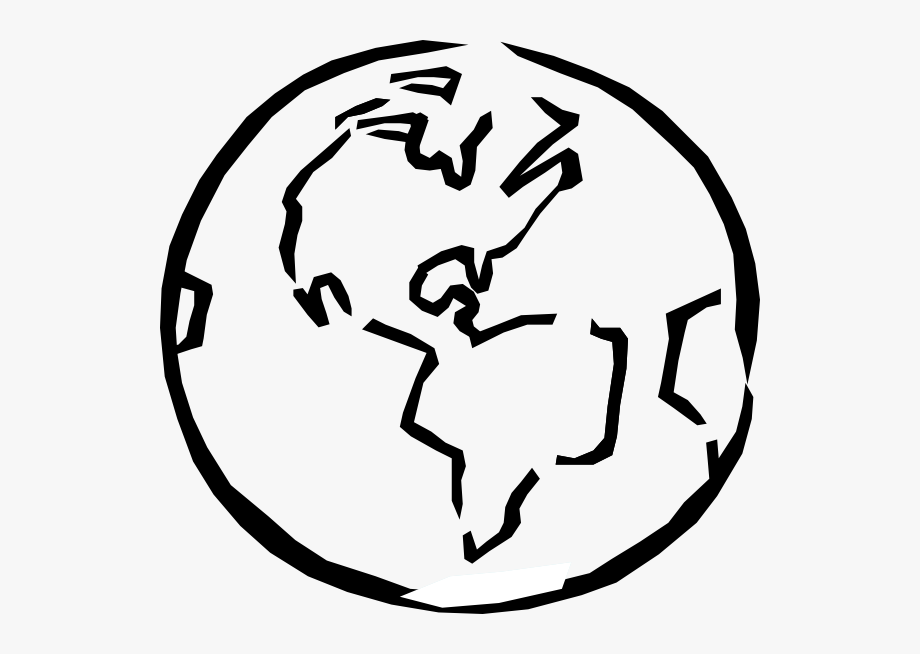 World Black And White Planet Earth Black Clipart.