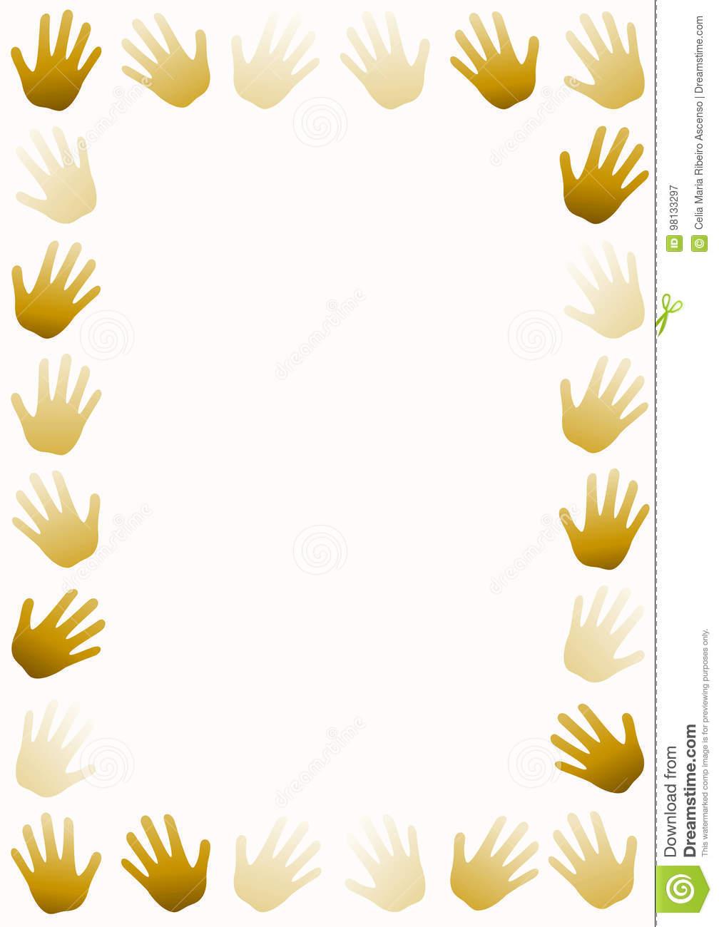 Hand Prints Around Frame Border Stock Illustration.