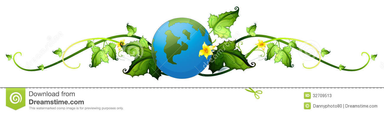 A Vine Plant Border With The Earth Stock Vector.