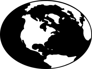 Globe Map Clipart Black And White.