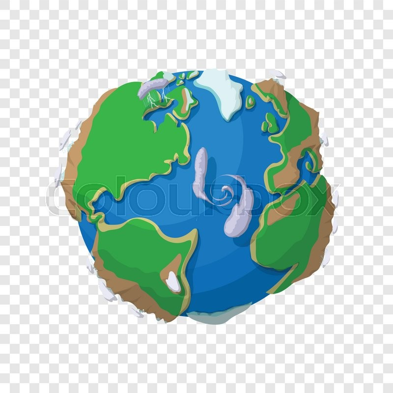 Earth in cartoon style on transparent background.