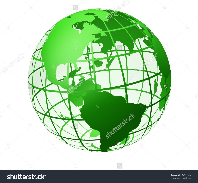Transparent Globe Green Color Earth Breadboard Stock Illustration.