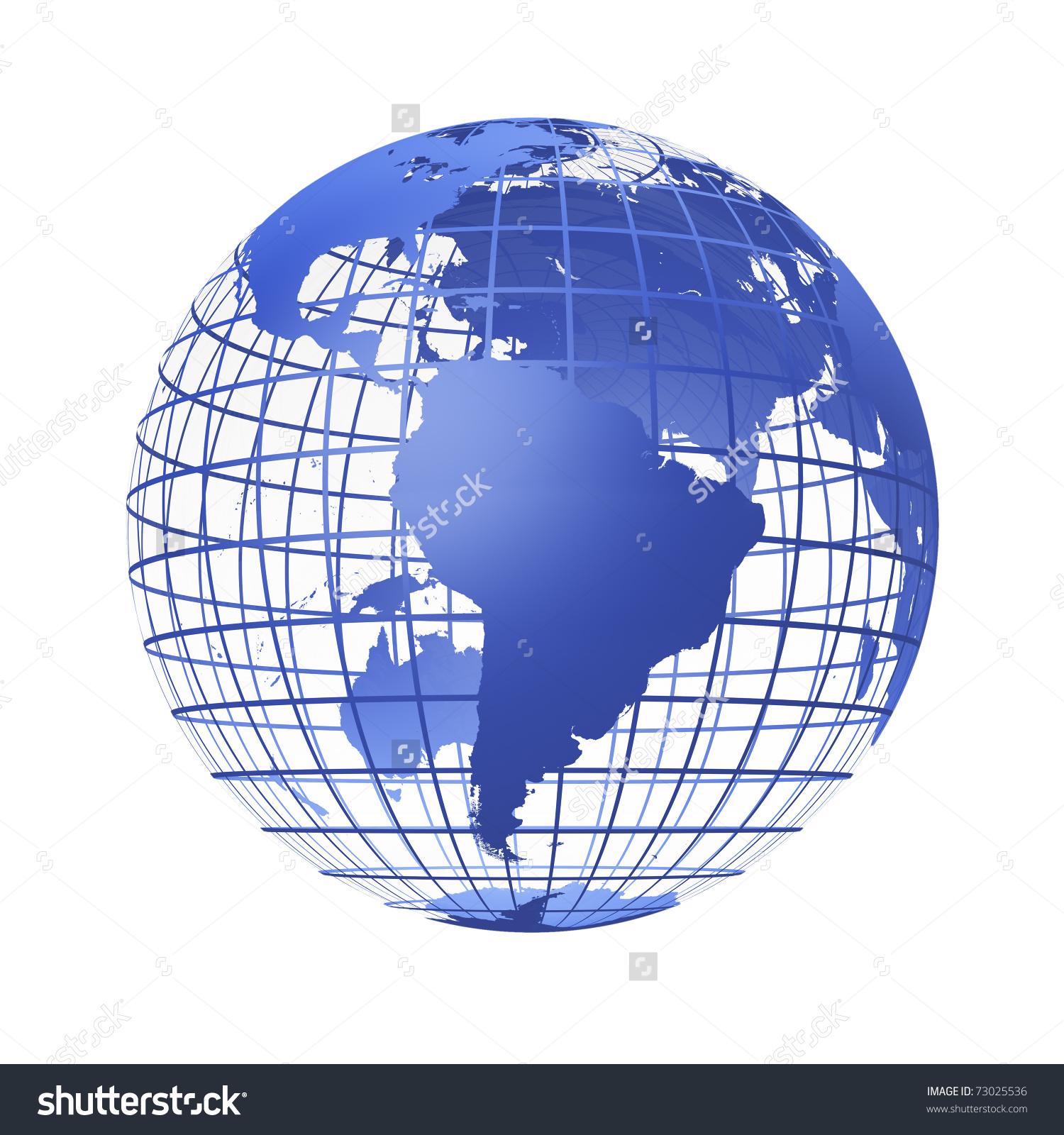 Transparent Globe Blue Color Earth Breadboard Stock Illustration.