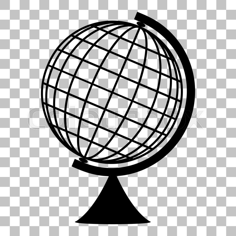 Earth Globe sign. Flat style black icon on transparent background.