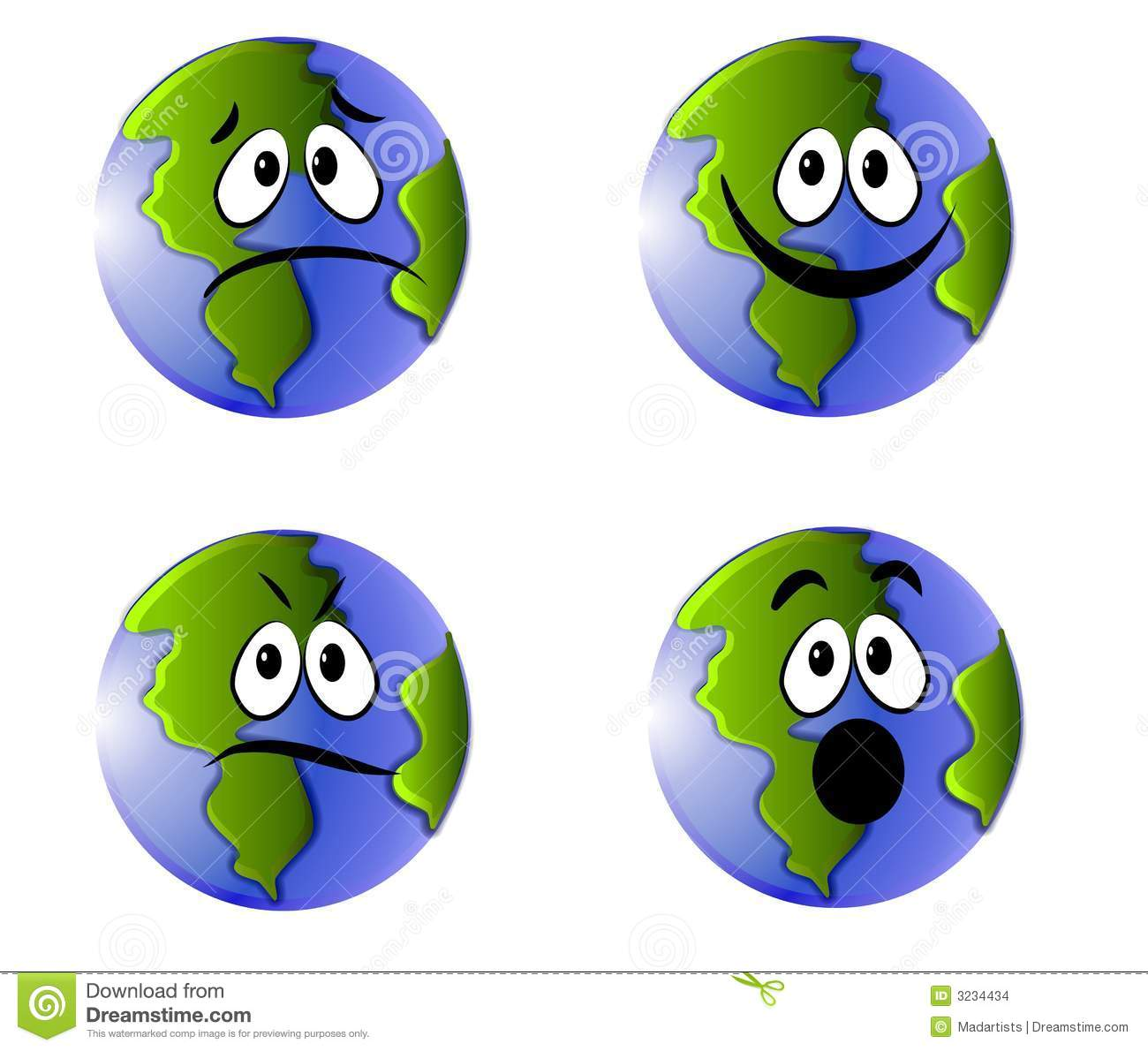 Earth With Face Clipart.