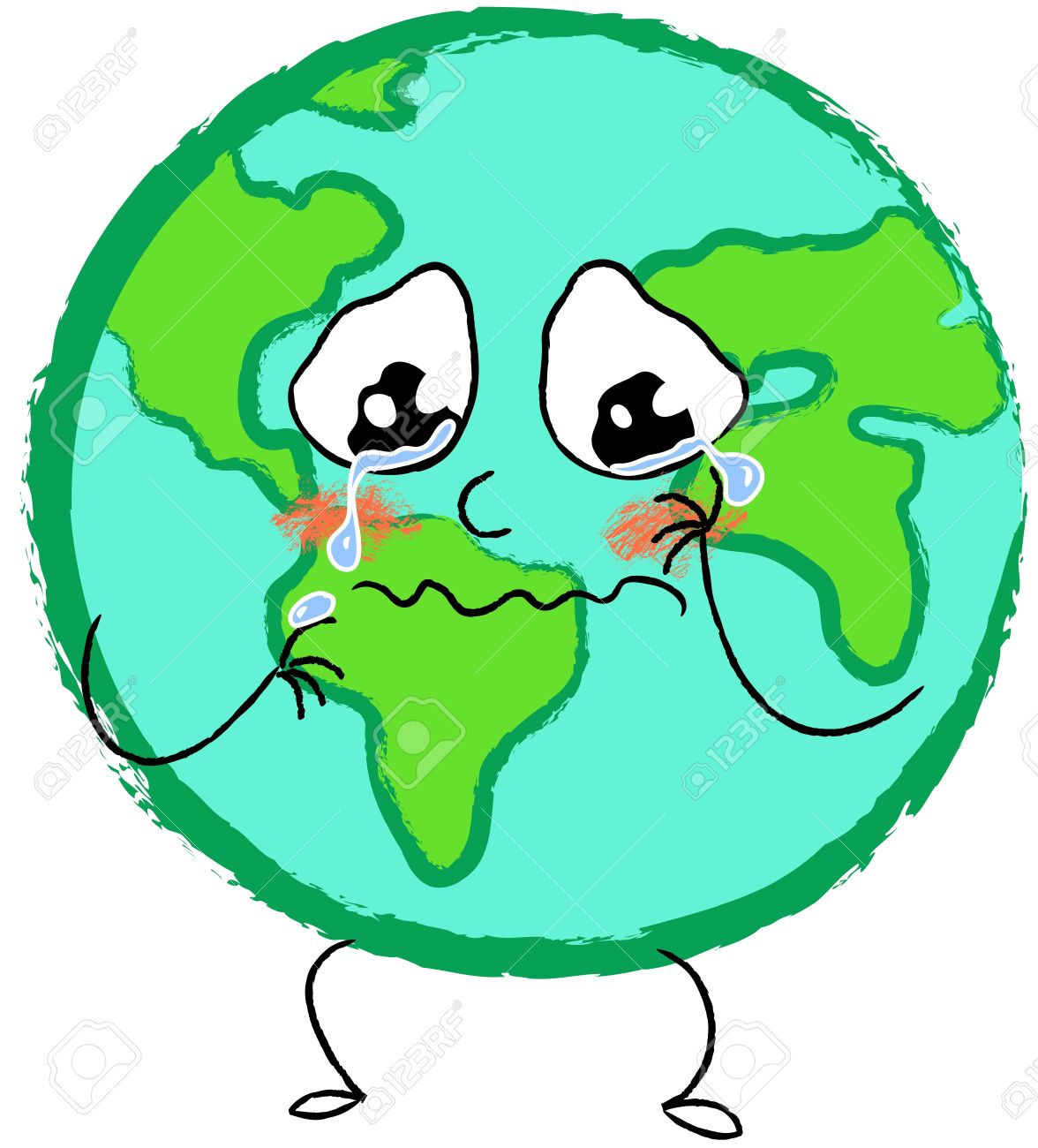 Crying Sad Planet Earth Stock Photo, Picture And Royalty Free.