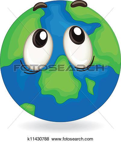 Clip Art of earth globe face k11430788.