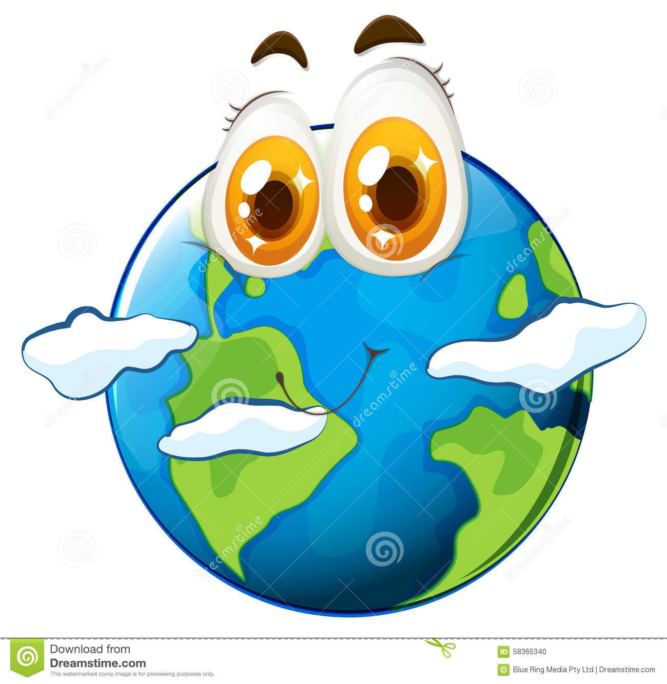 Earth With Happy Face Stock Vector.