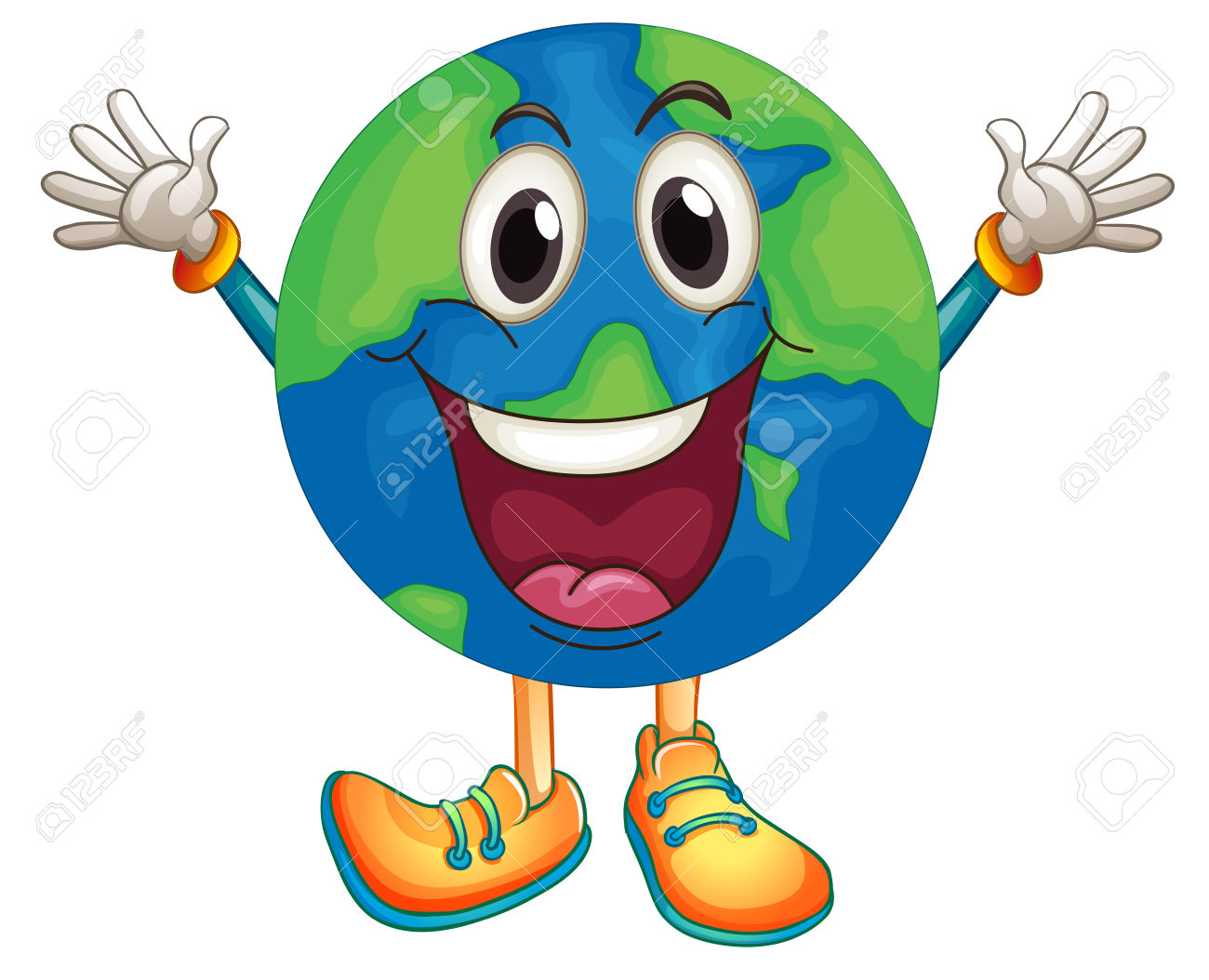Illustration Of An Earth With Happy Face Royalty Free Cliparts.