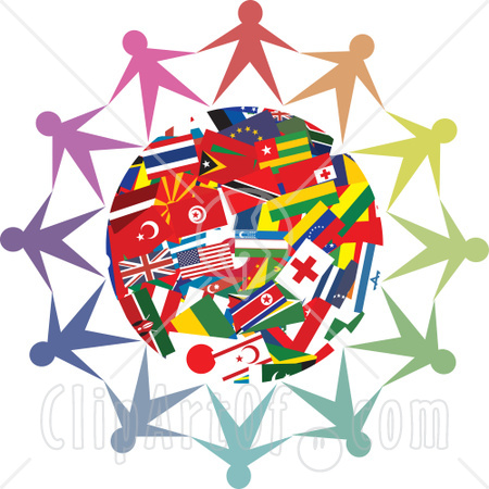 people holding hands around world.
