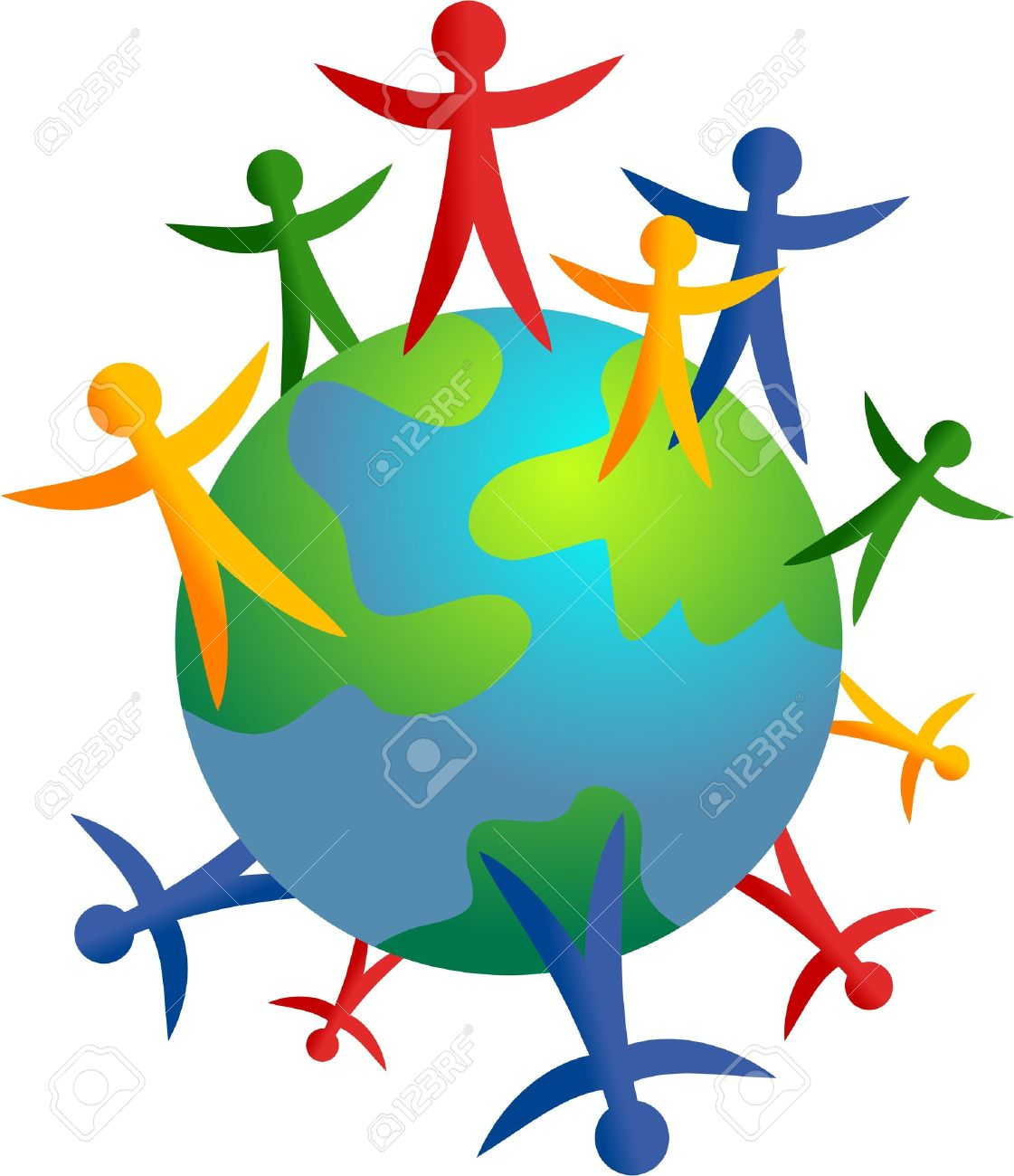 Colourful Stick People Standing Around The World Isolated On.