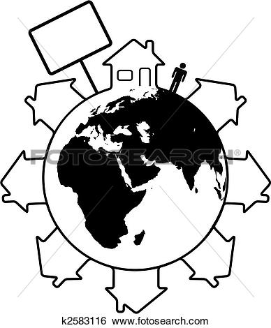Clip Art of Housing Earth people homes around the world east.