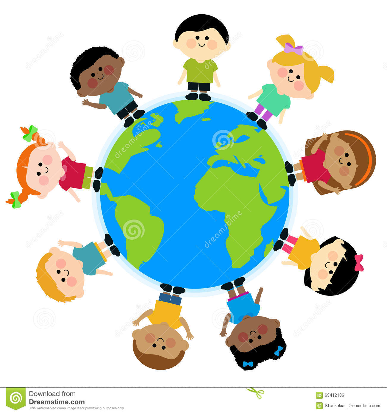 Multi Ethnic Group Of Kids Standing Around The Earth Stock Vector.