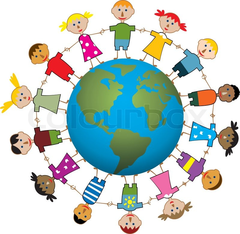 Vector illustration of children around the world.