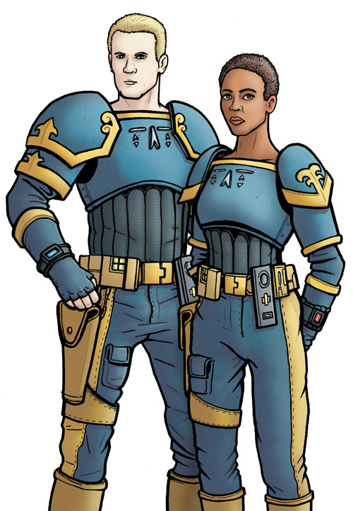 "Companion sketch #20: 30th Century Earth ""Ajudicators"" Chris Cwej."