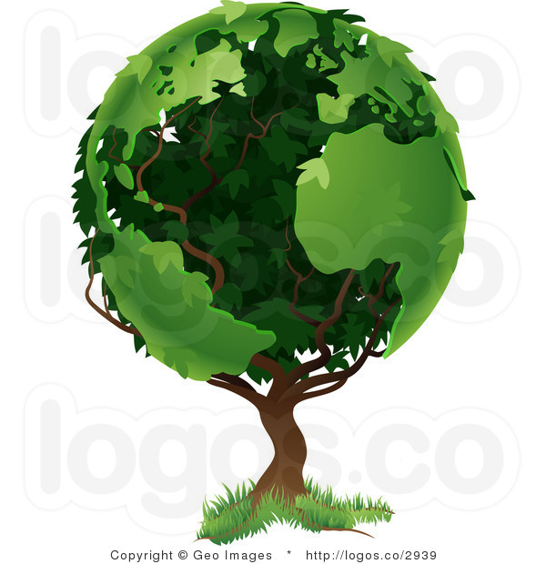 Vector Clipart Earth Tree Logo.