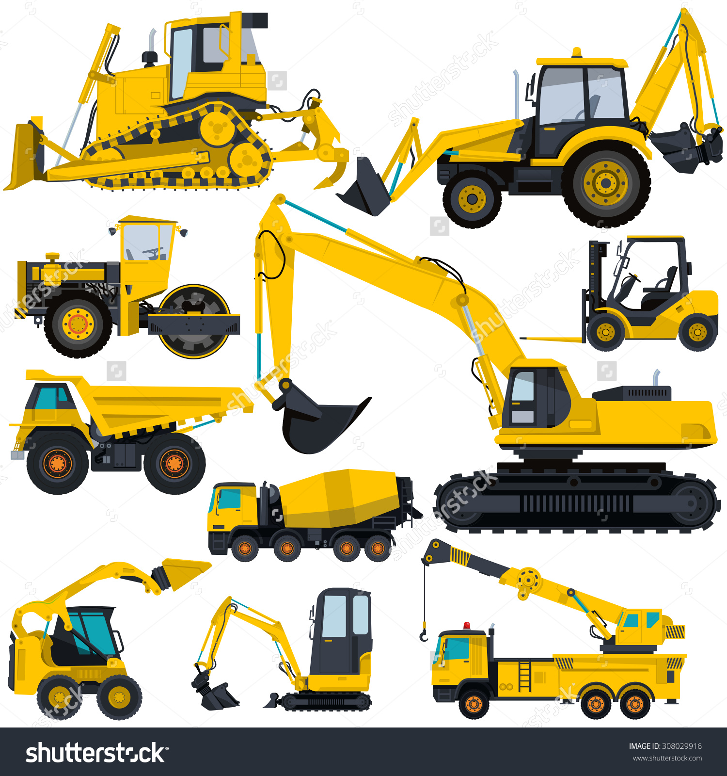 Nice Yellow Big Set Ground Works Stock Vector 308029916.