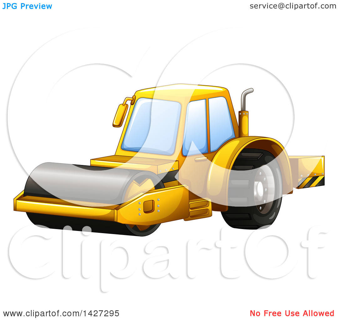 Clipart of a Construction Steam Roller Machine.