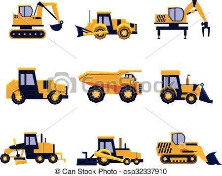 Vector Clip Art of Construction Equipment Road Roller, Excavator.
