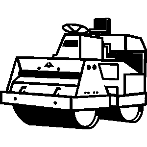 Road construction vehicle clipart black and white.