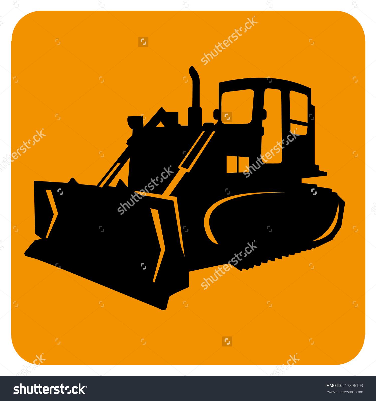 Excavator Bulldozer Grader Isolated Vector Icon Stock Vector.