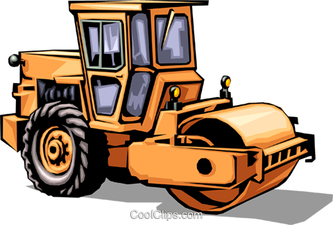 Steam roller Royalty Free Vector Clip Art illustration.