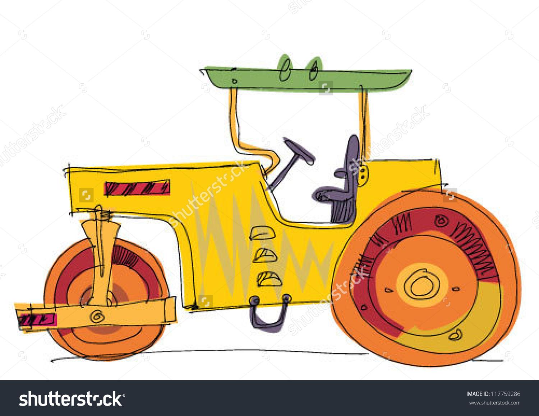 Road Roller Vector Cartoon Stock Vector 117759286.