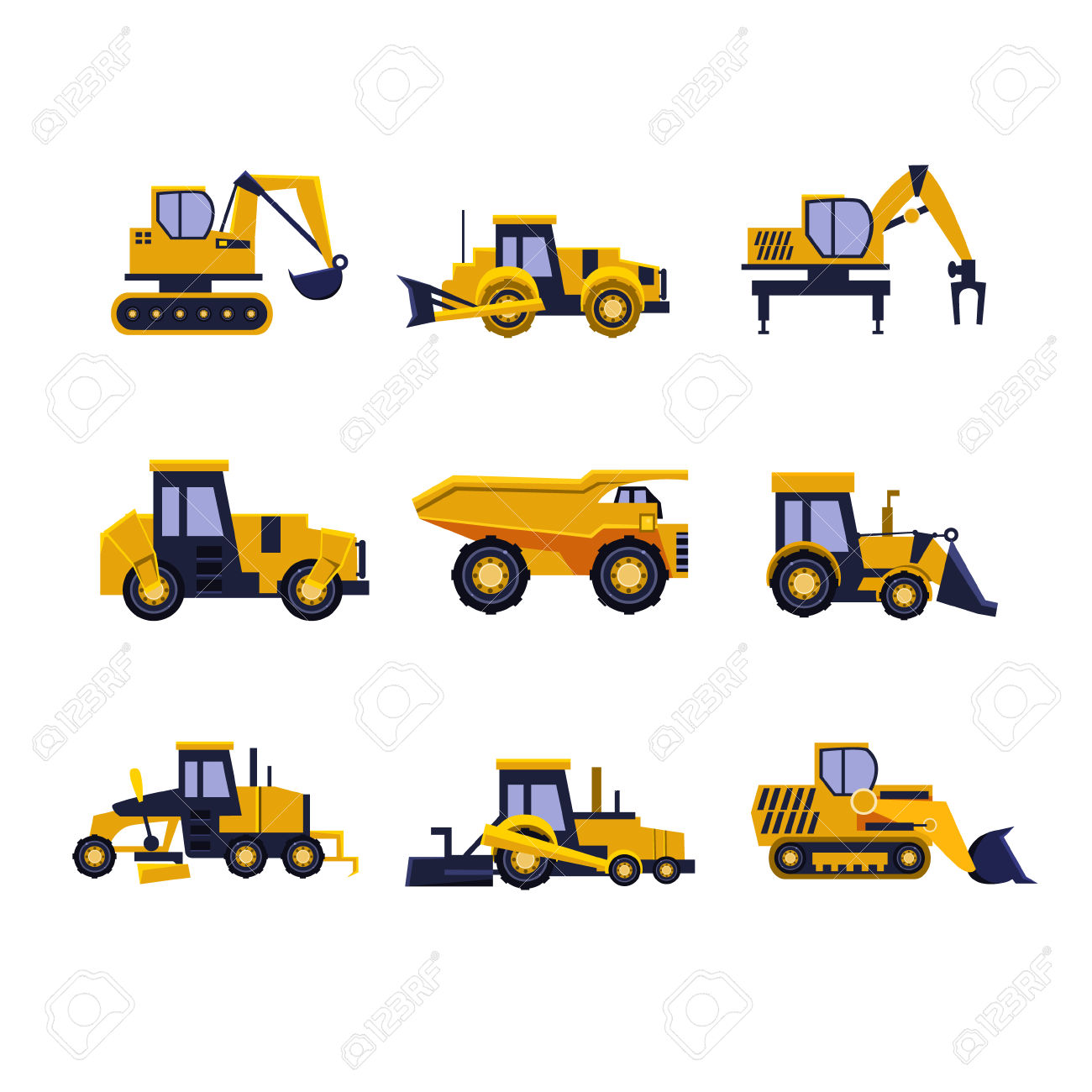 Construction Equipment Road Roller, Excavator, Bulldozer And.