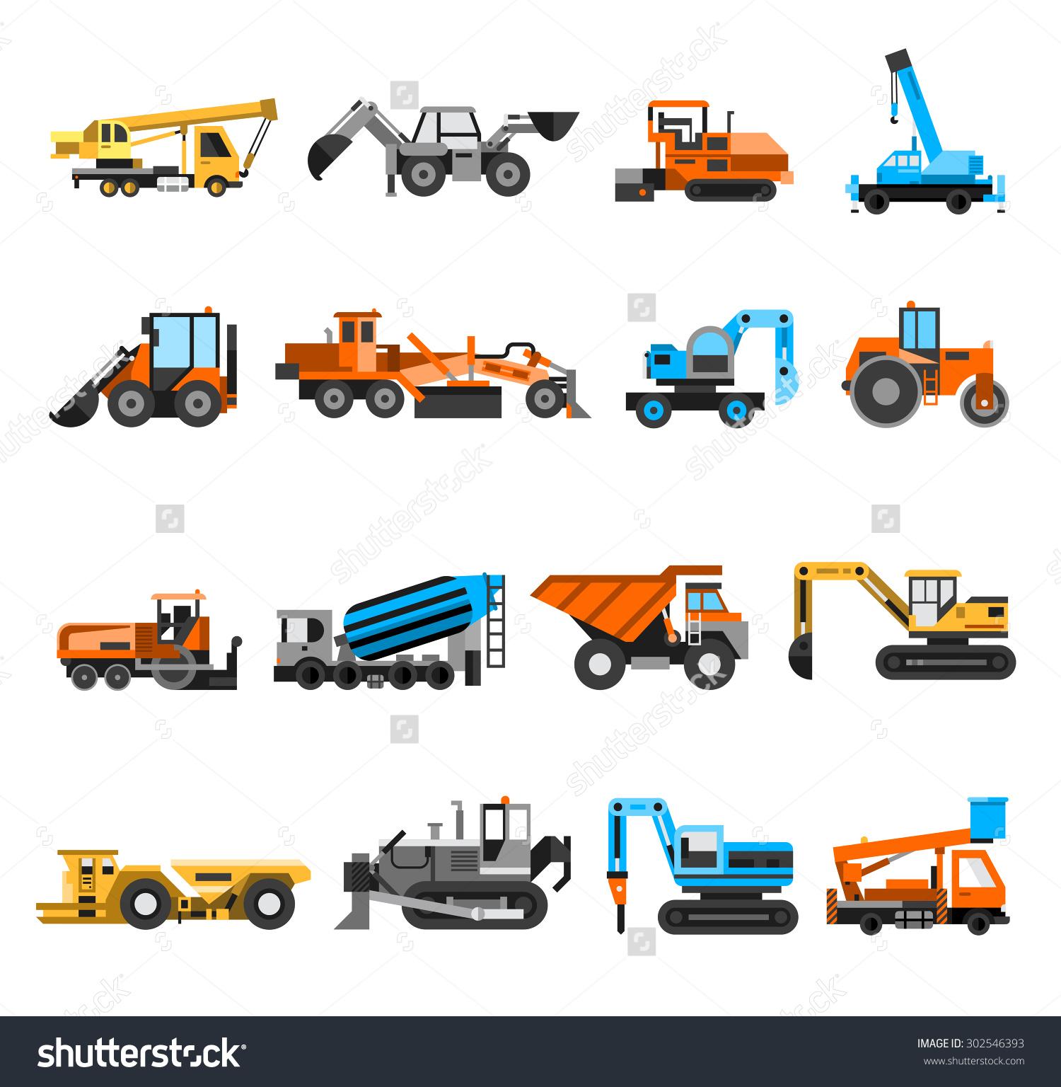 Construction Machines Engineering Icons Set Excavator Stock Vector.