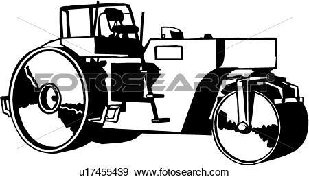 Clip Art of , heavy equipment, construction, roller, trade.