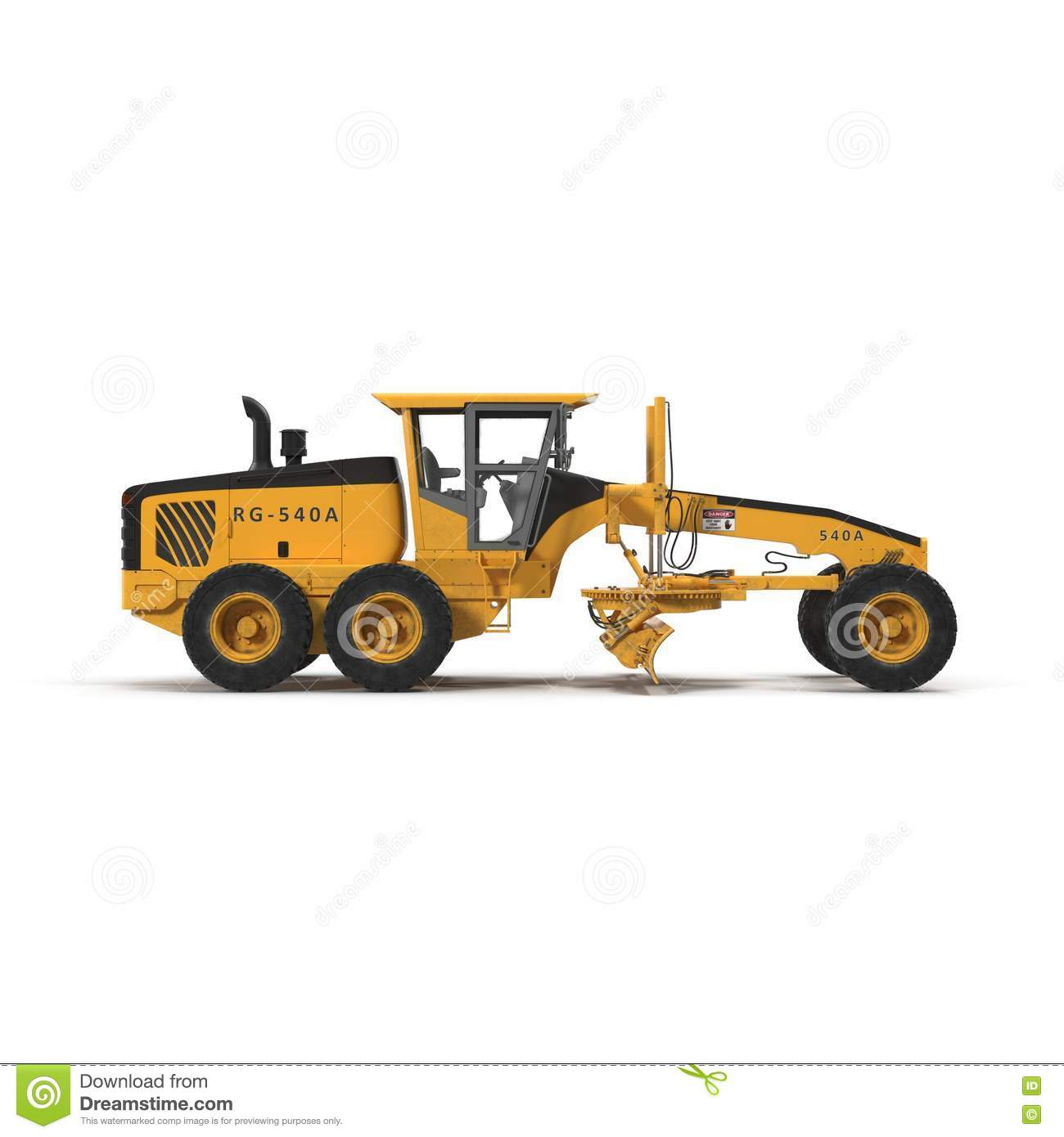 Grader Heavy Earth Moving Equipment On White. Side View. 3D.