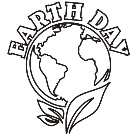 Earth day black and white clipart 2.